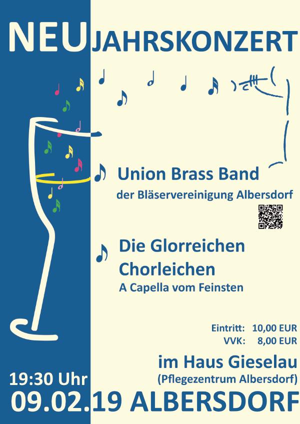 Neujahrskonzert der UBB am 9.2.2019 im Haus Gieselau 19.30 Uhr Abendkasse 10,- VVK 8,- €
