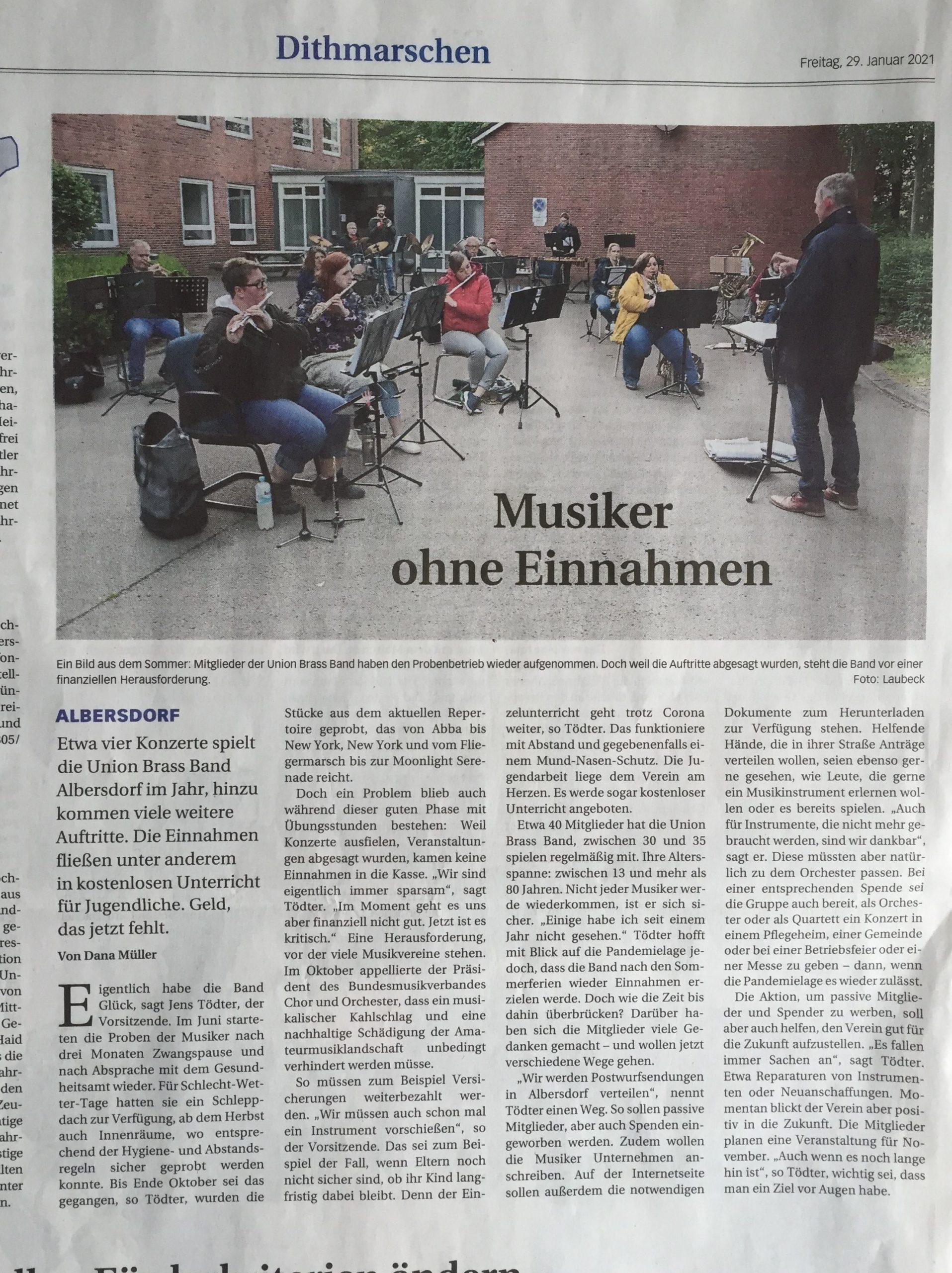 Musiker ohne Einnahmen DLZ 28.Jan2021
